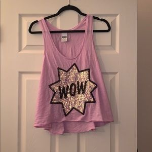 Victoria Secret Pink WOW Sequined medium Tank Top